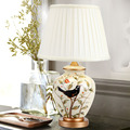 Ceramic table lamp bedroom bedside lamp European-style garden wedding fashion warmly decorated lamp dimmable