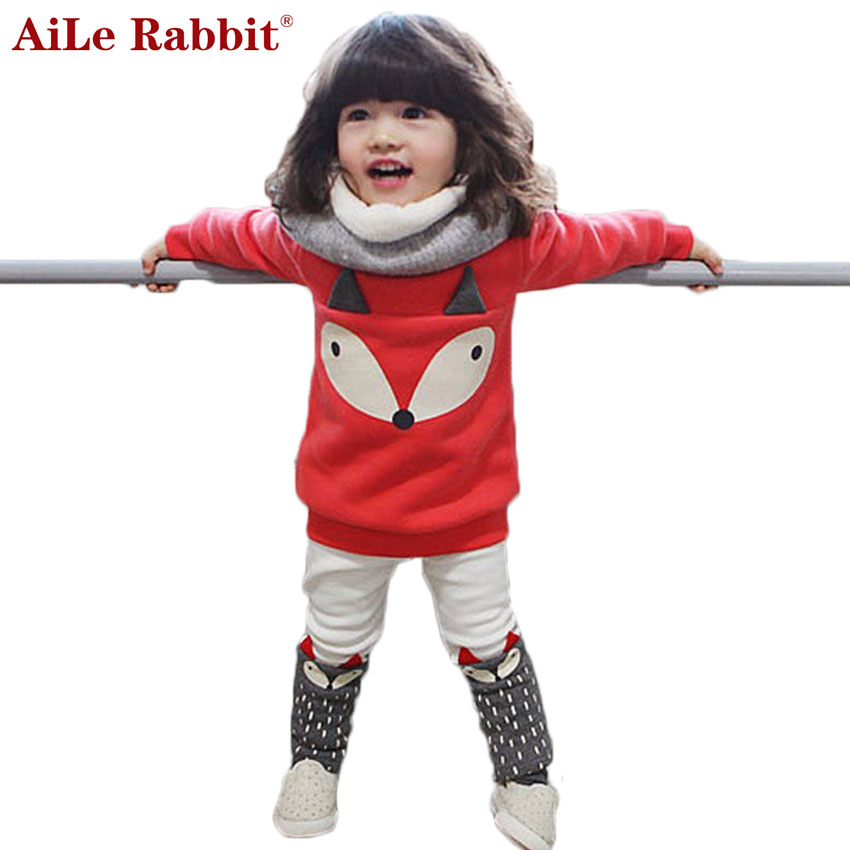 AiLe Rabbit  2016 Autumn winter Baby Girls Clothing set Lovely Children's Clothing 2PCS Thick Long Sleeve Fox Tops + Pant Sets
