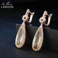 Lamoon Luxury Gemstone Natural Citrine 925 Sterling Silver Drop Earrings S925 Fine Jewelry Rose Gold Plated For Women LMEI024