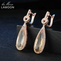 Lamoon Luxury Gemstone Natural Citrine 925 Sterling Silver Drop Earrings S925 Fine Jewelry Rose Gold Plated For Women LMEI024