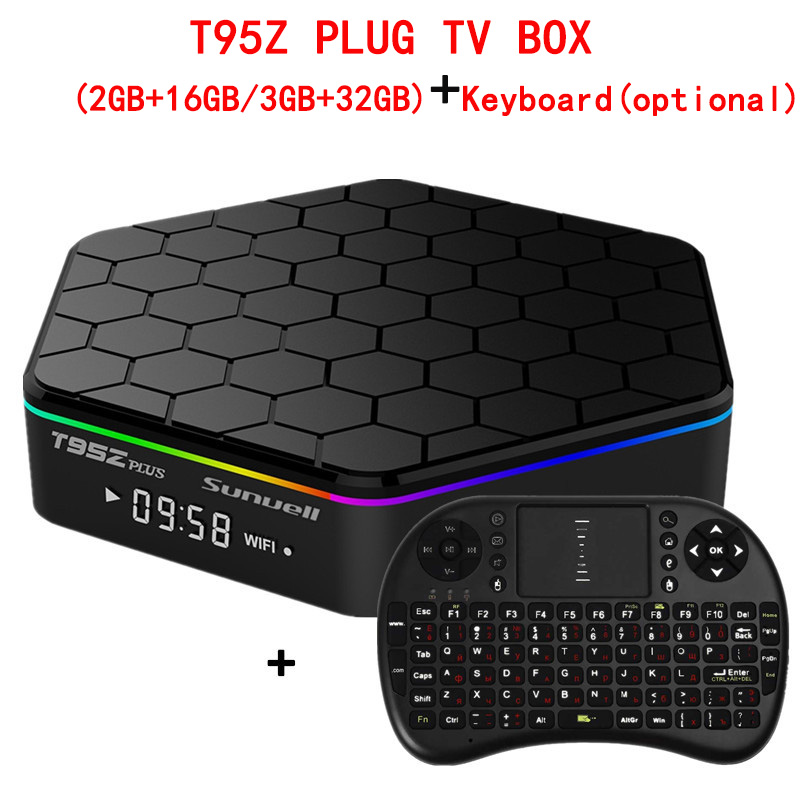 Sunvell T95Z Plus. Android 7.1 Smart Box Amlogic S912 Octa Core 4 k x 2 k H.265 Decodifica 2.4g + 5g Dual Band WiFi Media Player TV Box
