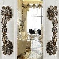 350mm Vintage Big Gate Door Handles Bronze Glass Door Handles Antique Brass Wood Door Pulls Europe