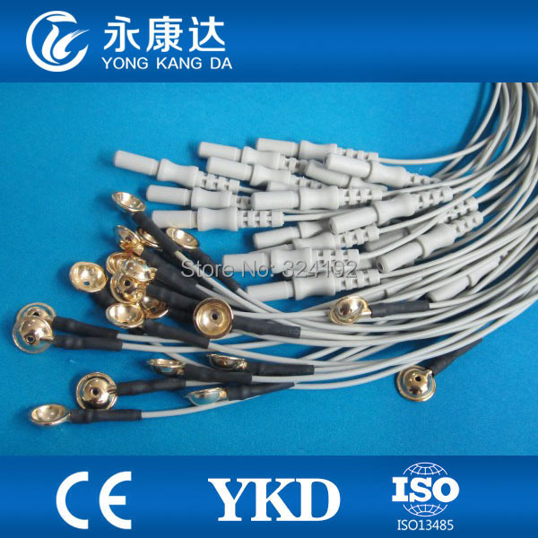 20pcs/pack Free shipping Din 1.5 Brain EEG Cables for Electroencephalo-graph TPU cable