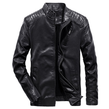 2019 Spring Autumn PU Leather Jacket Men Slim Fit Coat Stand Collar Long Sleeve Jackets Solid Color Casual Leather Coat WN35 hanqiu leather jacket men winter autumn pu faux leather solid jackets slim fit zipper pocket stand collar casual men jacket