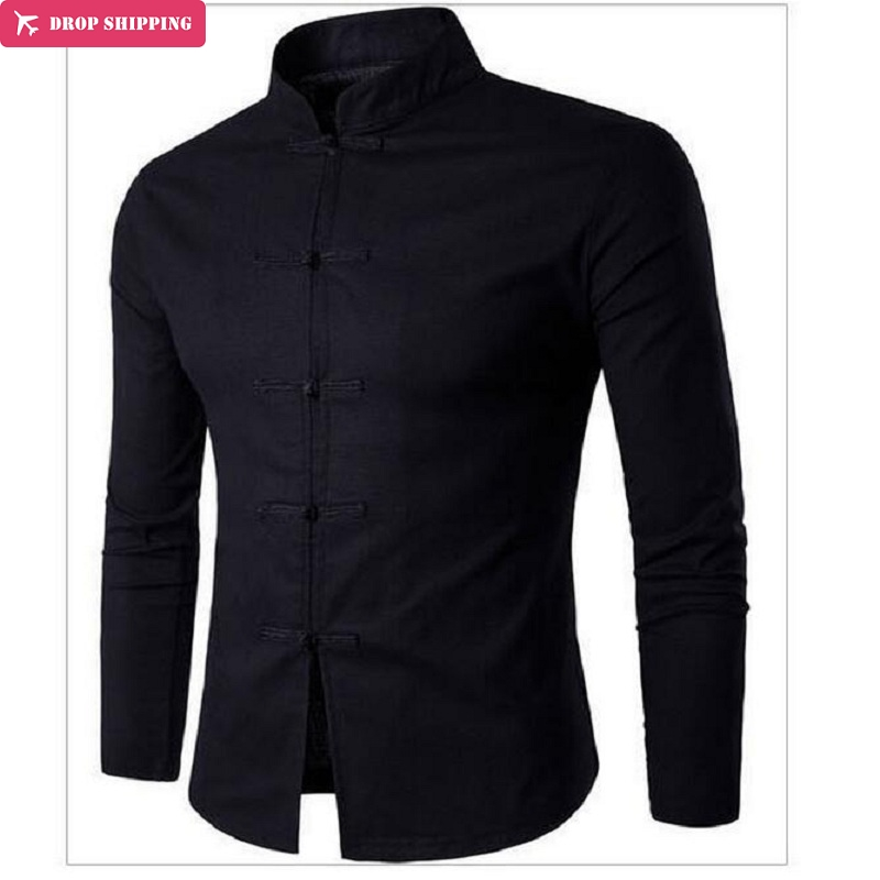 Men s Sleeve Chinese Ancient Cotton Hemp Shirt 2017 New Long Casual Brand