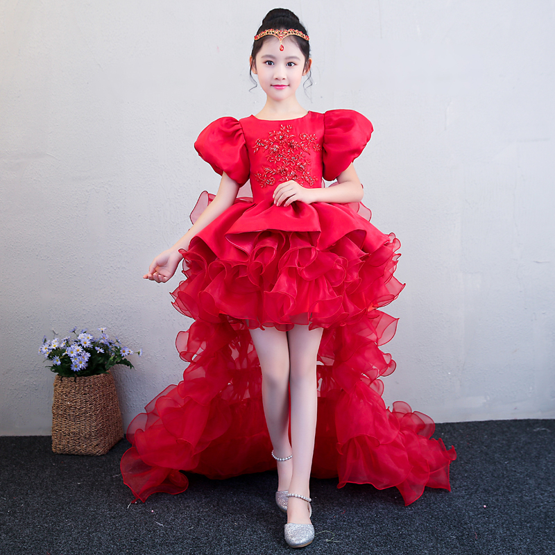 c8f7d76af138e US $93.32 6% OFF|Luxury Red Flower Girl Dress Wedding Birthday Party  Dresses For Girls Kids Prom Gowns Beading Ball Gown Children Party Dress  A34-in ...