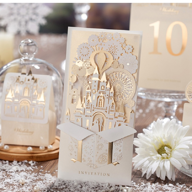 Elegant Silver Pop Up 3d Invitation Card Laser Cut Gold
