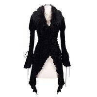 Steampunk Printing Pattern Retro Velveten Jackets Artificial Wool Jacket Female Punk Winter Long Coat With Detachable Collars