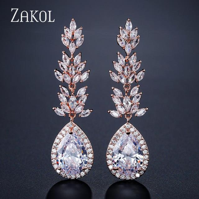 156433e18 ZAKOL Brand High Quality Silver Color Teardrop Crystal Long Dangle Drop  Earrings Fashion Zirconia Leaf Women Jewelry FSEP2180