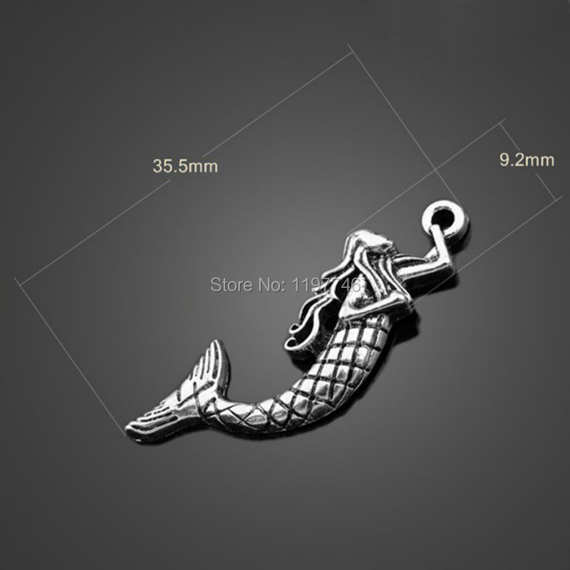 Hot Sale 150pcslot 35.5x9.2mm Antique Silver Plated Charms Sea Mermaid Pendants Zinc Alloy Charms Jewelry Findings For DIY
