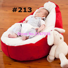 2016 New Canvas white Baby infant Bean Bag Portable Seat bed &zipper&No Filling , red seat