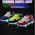 2016 Novos genuínos Filhos de couro Das Sapatilhas Luminosa Iluminado luzes LED Meninas Menino Crianças Sapatos Casuais Da Sapatilha