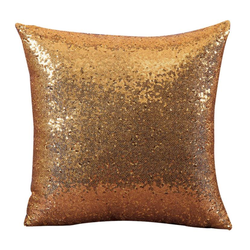 Super Deal 2016 Solid Color Glitter Sequins Throw Pillow Case Cafe