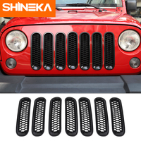 SHINEKA Racing Grills for Jeep Wrangler JK 2007 2017 Honeycomb Front Grilles Mesh Grille Decoration Cover Stickers For Jeep JK