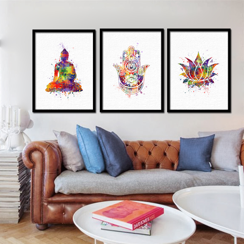 UnFramed Abstract Colorful Buddha Modern Home Decor Canvas Print Painting Wall Art Picture for Living Room Modular Picture