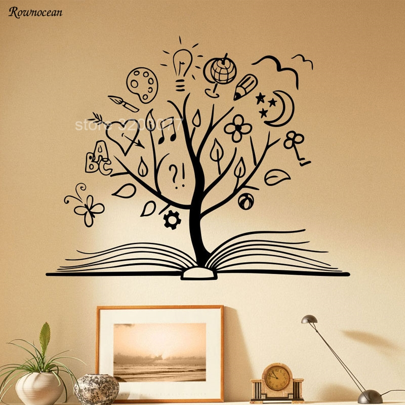 Book Tree Wall Decal Library School Vinyl Sticker Unique Home Art Decor Reading Room Decoration Removable Murals Kids Rooms SK13