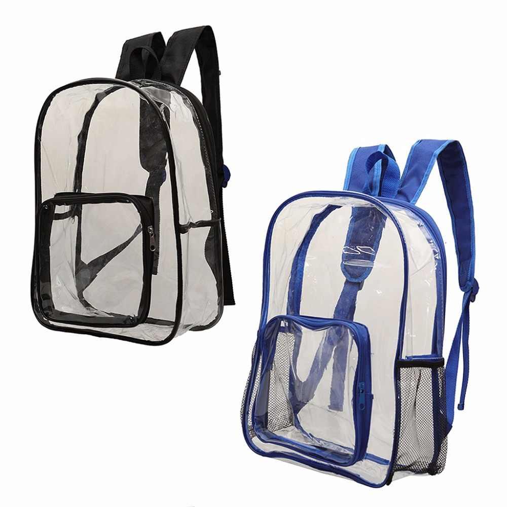 6cb58846e0f2 Fashion Women Men Transparent PVC Clear Backpack Travel Shoulder Bag ...