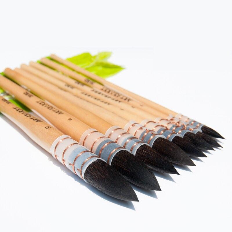 20RQ alta qualità squirrel capelli corto manico in legno vernice art paiting pennelli artistici per disegno ad acquerello