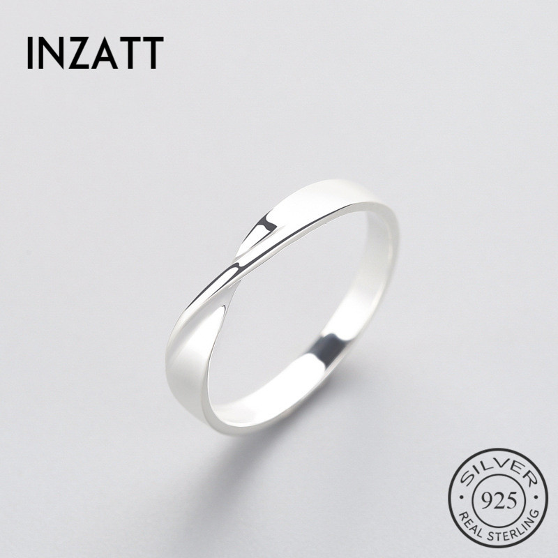 INZATT OL Minimalist Geometric Wave Ring Real 925 Sterling Silver Fine Jewelry For Charm Women Birthday Party Accessories Gift