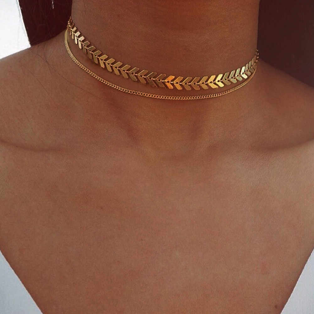 Fashion 2019 Necklace Women Long Dangle Necklace Jewelry Fish bone chain collar mujer