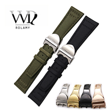 Rolamy Watchbands 20 21 22mm Green Black Nylon Fabric Leather Band Wrist Watch Band Strap Belt With Deployment Clasp Wholesale все цены