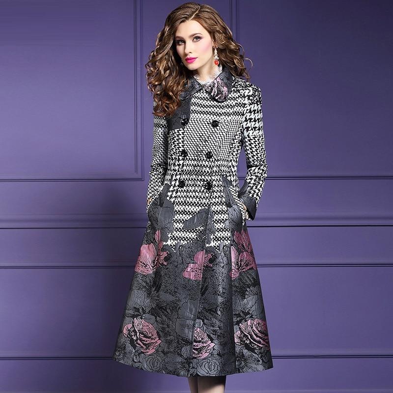 Long sleeves Keep warm coats S 3xl 2018 new High Quality spring autumn print coat Plus