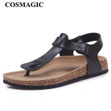 COSMAGIC/Модная пробка; босоножки; Новинка 2020 года; женские летние однотонные Нескользящие пляжные сандалии с пряжкой на ремешке