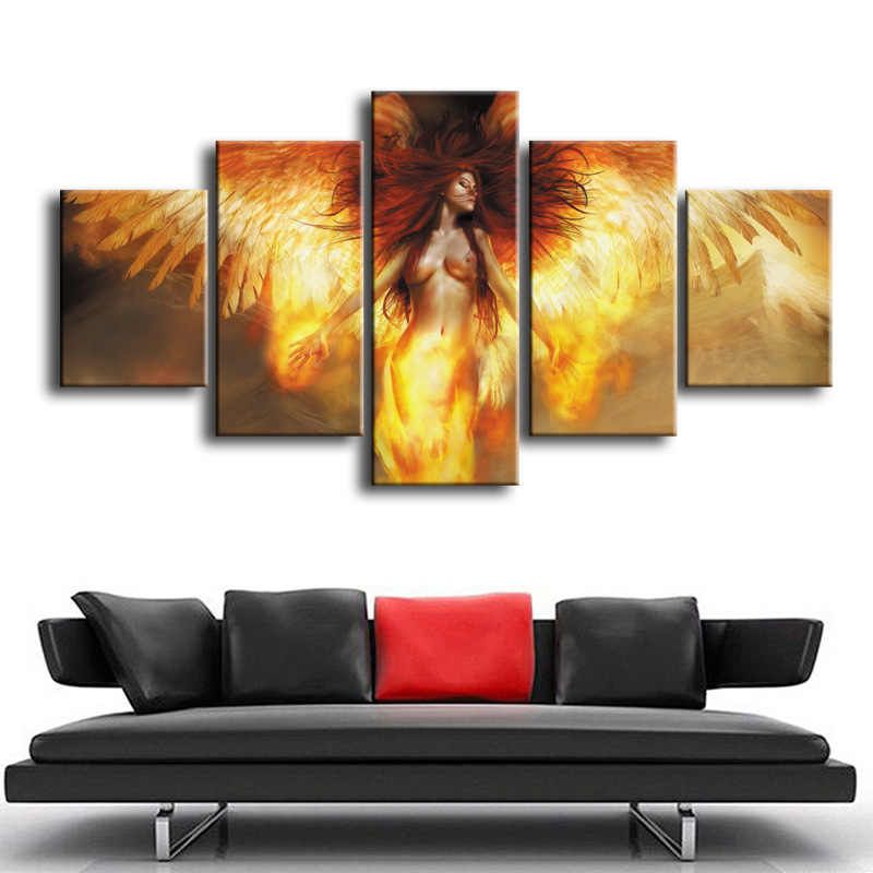 Wholesale 5 pieces / set of Abstract woman movie poster series wall art for wall decorating home Decorative painting on canvas