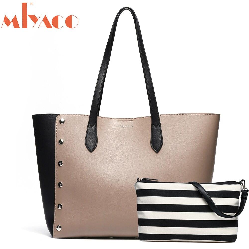 Miyaco Female Tote Bag Handbags Designer Shoulder Bag Shopper Bag Large Leather Shoe Work Tote with Canvas Iner Bag canvas tote bag
