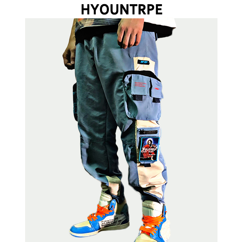 2019 New Patchwork Side Pocket Cargo Harem Pants Mens Casual Elastic Waist Joggers Streetwear Hip Hop Ankle Drawstring Trousers(China)