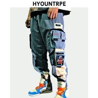 2019 New Patchwork Side Pocket Cargo Harem Pants Mens Casual Elastic Waist Joggers Streetwear Hip Hop Ankle Drawstring Trousers