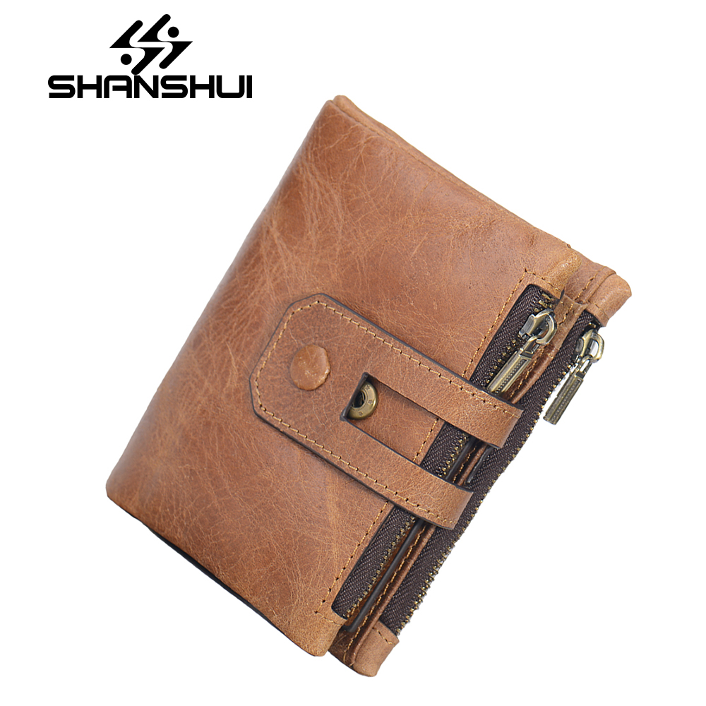 SHANSHUI Genuine Leather Men Wallet Small Men Walet Zipper&Hasp Male Portomonee Short Coin Purse Brand Perse Carteira For Rfid