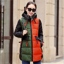 2016 New Winter Stitching Women 's Cotton Printing Large Size Loose Long Thick Coat
