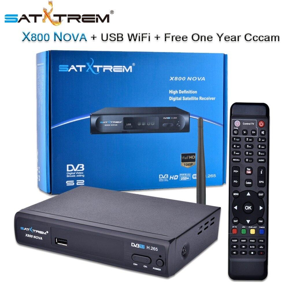 Décodeur récepteur Satellite numérique Satxtrem X800 Nova DVB-S/S2 H.265 Tuner TV HD + prise en charge WiFi USB IPTV Cccam Newcam 1080 P
