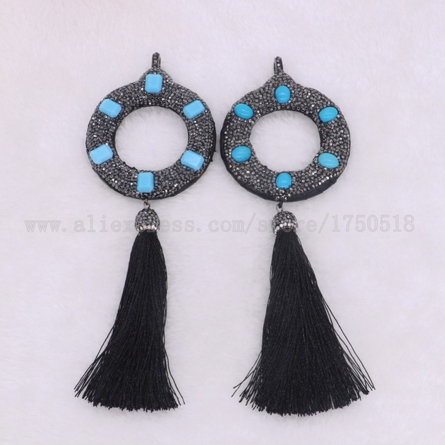 5 pieces big round circle with 6 blue stone pendants with tassel for 5 pieces big round circle with 6 blue stone pendants with tassel for women jewelry pendant aloadofball Image collections
