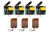AC220V 1CH 10A RF Wi-fi Distant Management Swap System teleswitch three transmitter & four receiver relay Receiver Good Dwelling Swap
