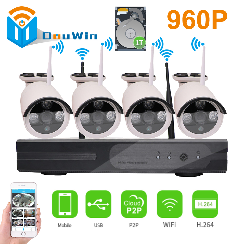 4CH 960P HD Wireless IP Camera Kit Wifi NVR Outdoor IR Night Vision Security System Surveillance onvif Weatherproof CCTV P2P HDD plug and play 960p hd outdoor ir night vision home surveillance security ip camera wifi cctv system 4ch wireless nvr kit 1tb hdd