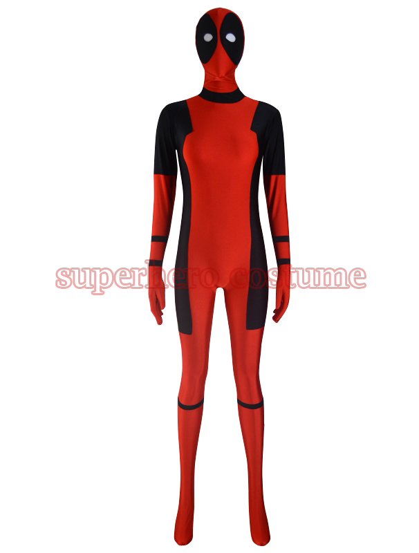 2017 Lady Deadpool Costume red and black spandex halloween female Deadpool superhero costumes hot sale show fullbody zentai suit