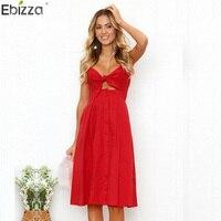 0a1ee4451a Ebizza Deep V Neck Spaghetti Strap Dress Women Button Sleeveless Backless  Summer Beach Dress Slim Bow