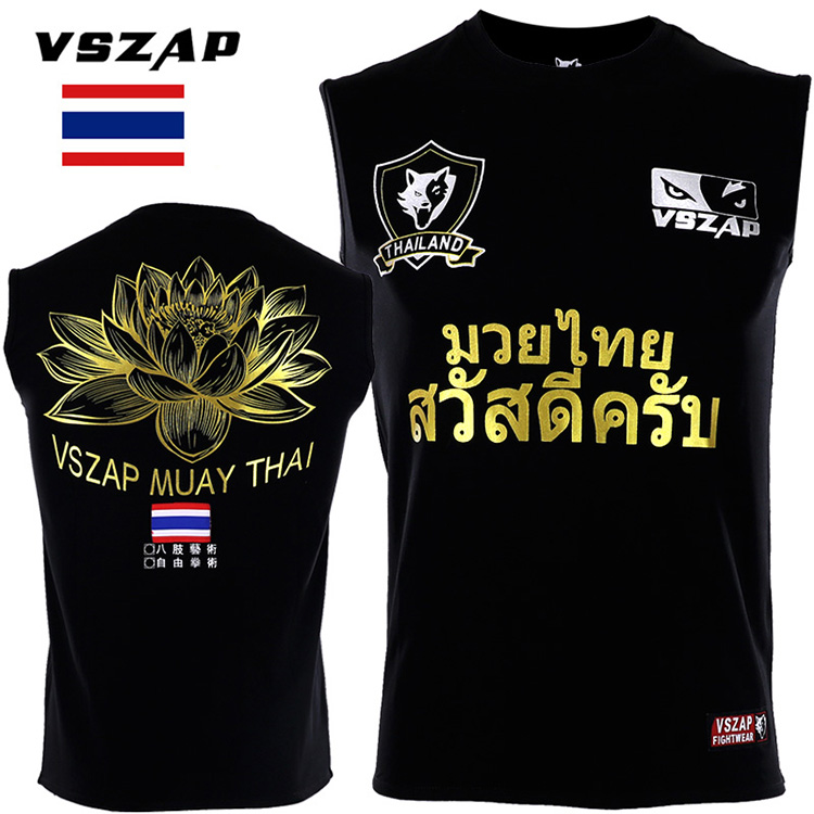 VSZAP Thai Lotus Combat Broadcast Ask Loose Vest Sleeveless T-shirt  Sports Wulin Wind Tiger MMA Fitness