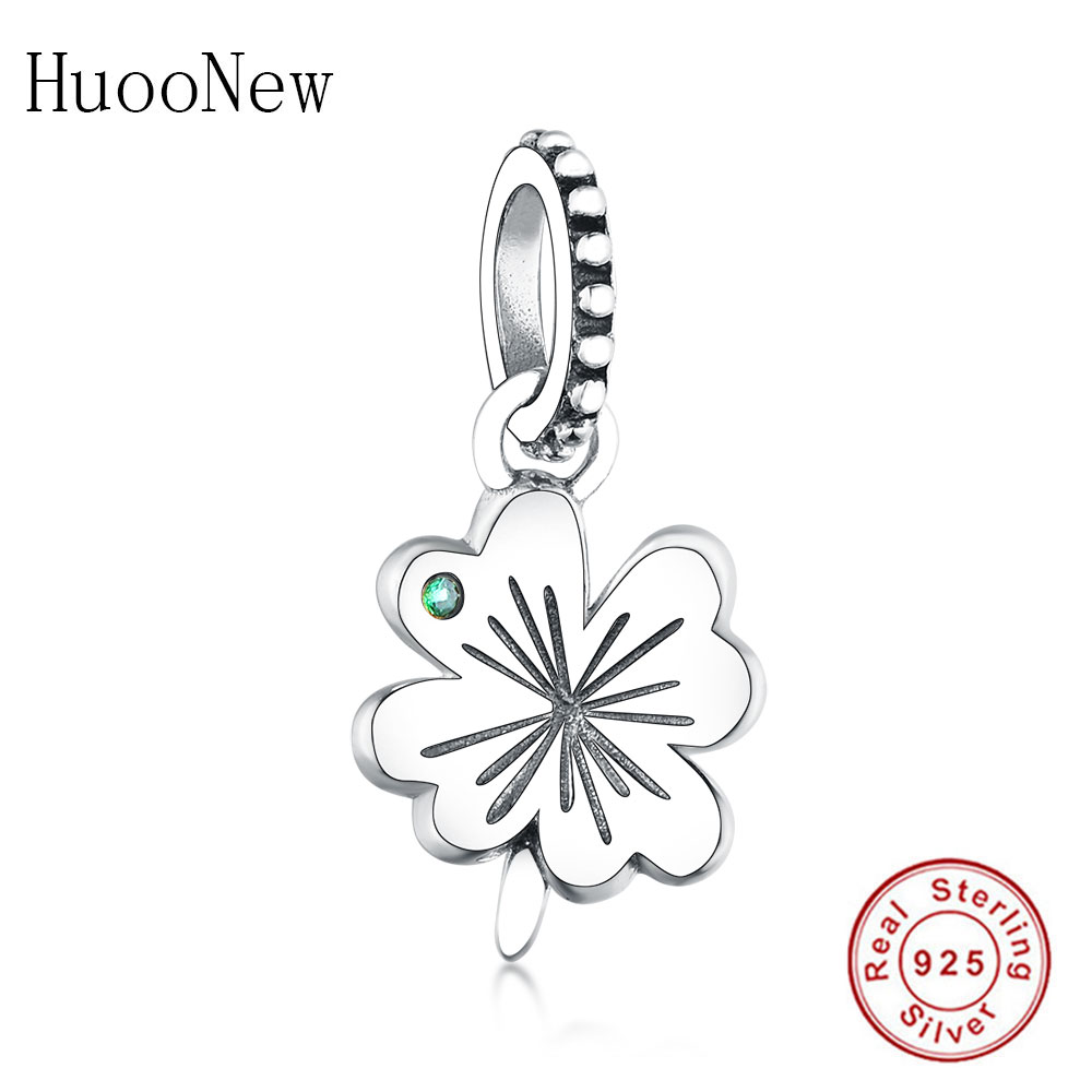 Fit Original Pandora Charm Bracelet 925 Sterling Silver Four Leaf Clover Green Zircconia Beads For Women Jewelry Making Berloque in Beads from Jewelry Accessories