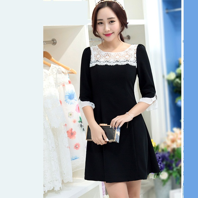 New 2016 Spring Women Flare Sleeve O Neck Lace Patchwork Elegant A