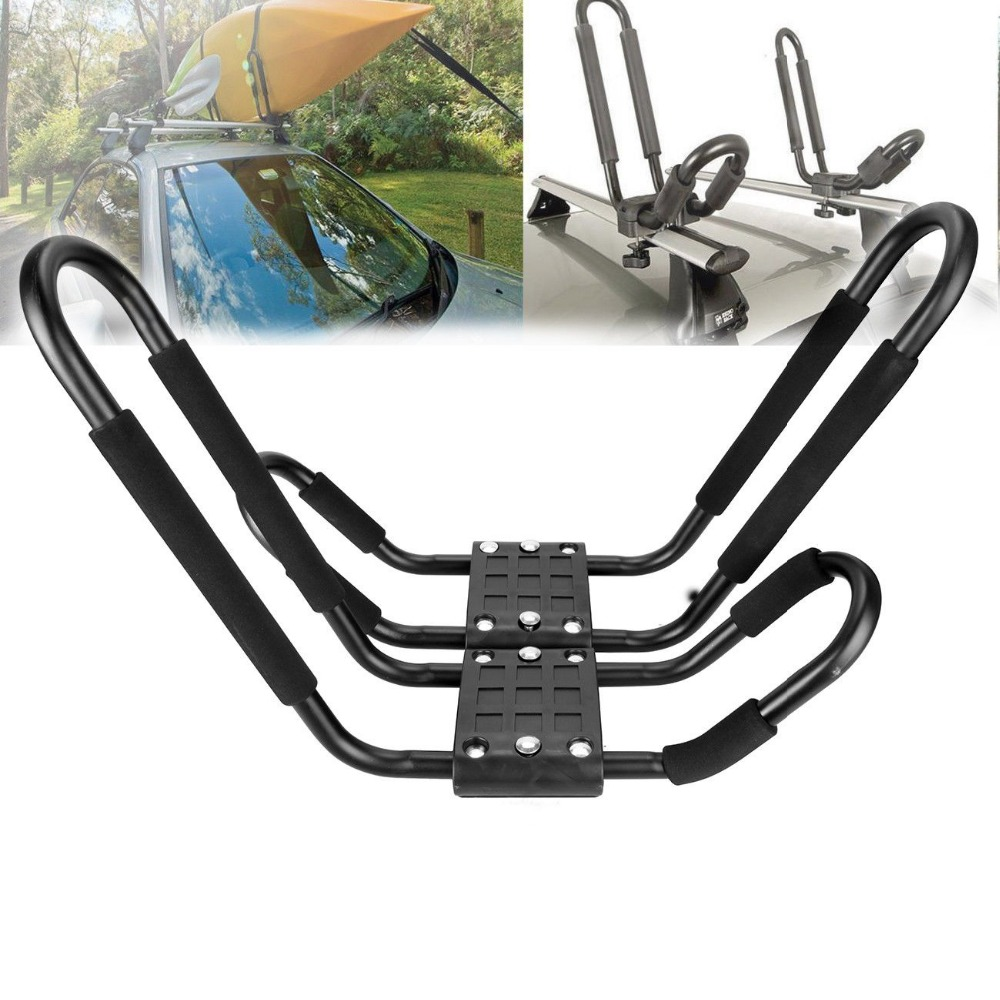 2x Universal Hard Adjustable Kayak / Canoe Carrier for Car Roof Rack J Bars ...