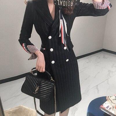 Women Striped Blazer Dress Office Lady Wearing Long Sleeve Sexy Double Breasted Business Dress Female Long Jacket Dress Vestidos