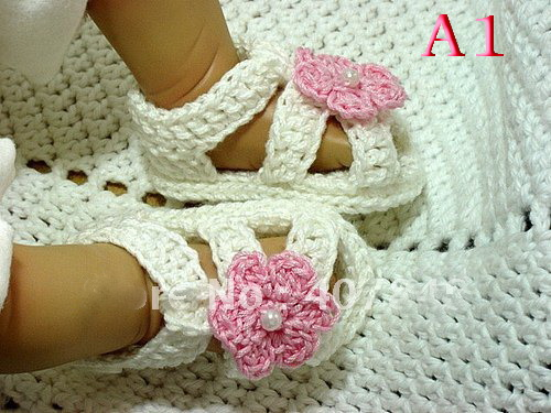 Free Shipping Crochet Baby Shoes, Baby girl Knitting white ...