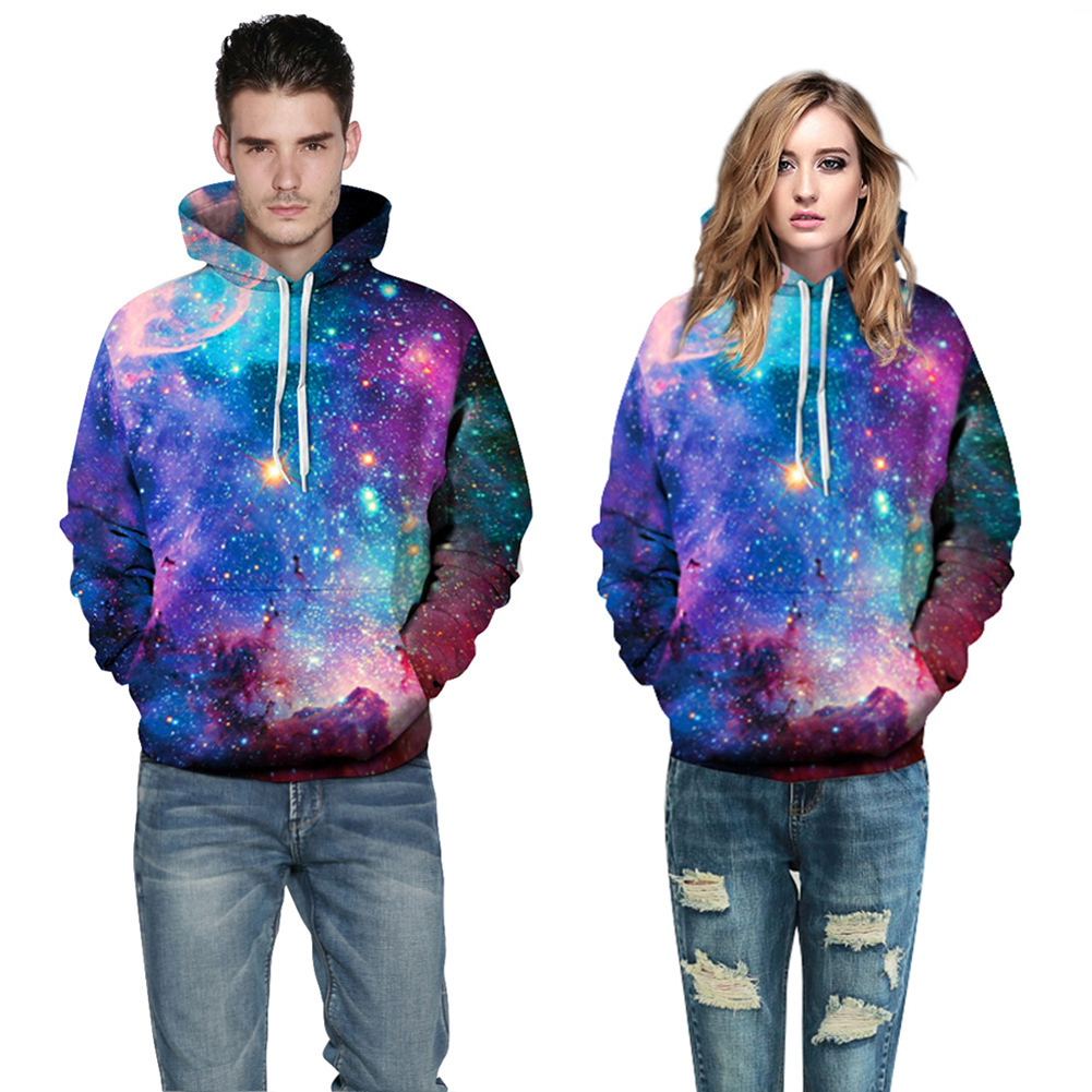 Fashion Women Men Starry Sky Pattern Drawstring Hoodie Spring Couple Pullover