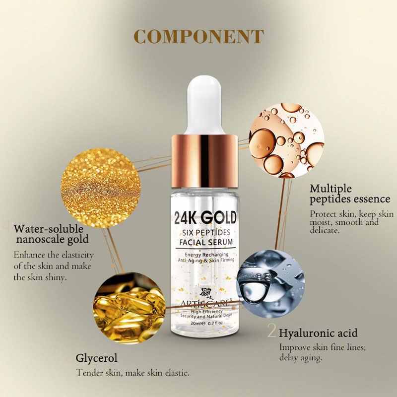 ARTISCARE 24K Gold Six Peptides Serum Vitamin C+Hyaluronic Acid Anti-Aging Face Cream Acne Moisturizing Whitening Skin Care 6PCS