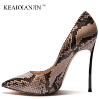 KEAIQIANJIN Woman Snake Skin Pumps Big Size 33 43 Fetish High Heels Valentine Shoes Beige Brown Pointed Toe Sexy Wedding Shoes