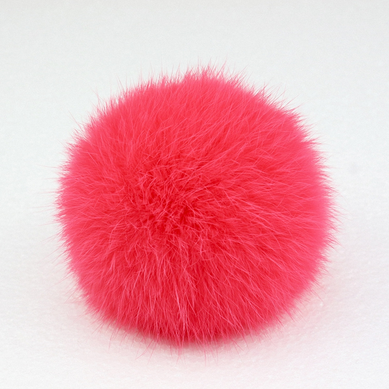 8cm Nature Genuine Rex Rabbit Fur Ball Pom Pom Fluffy DIY Winter Hat Skullies Beanies Knitted Cap Pompoms  TKF001-watermelon