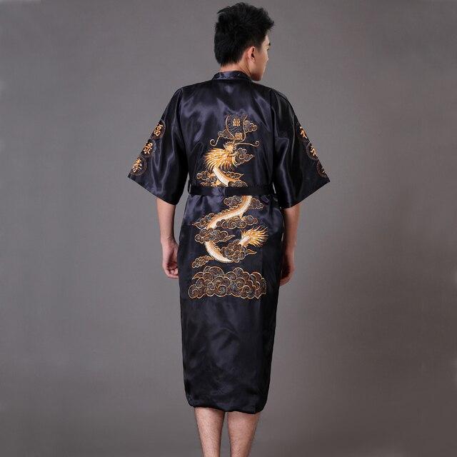Черные Китайские мужская Традиционная Вышивка Дракон Халат Ночная Рубашка Лето Атласные Пижамы Кимоно Платье Sml XL XXL XXXL MP041
